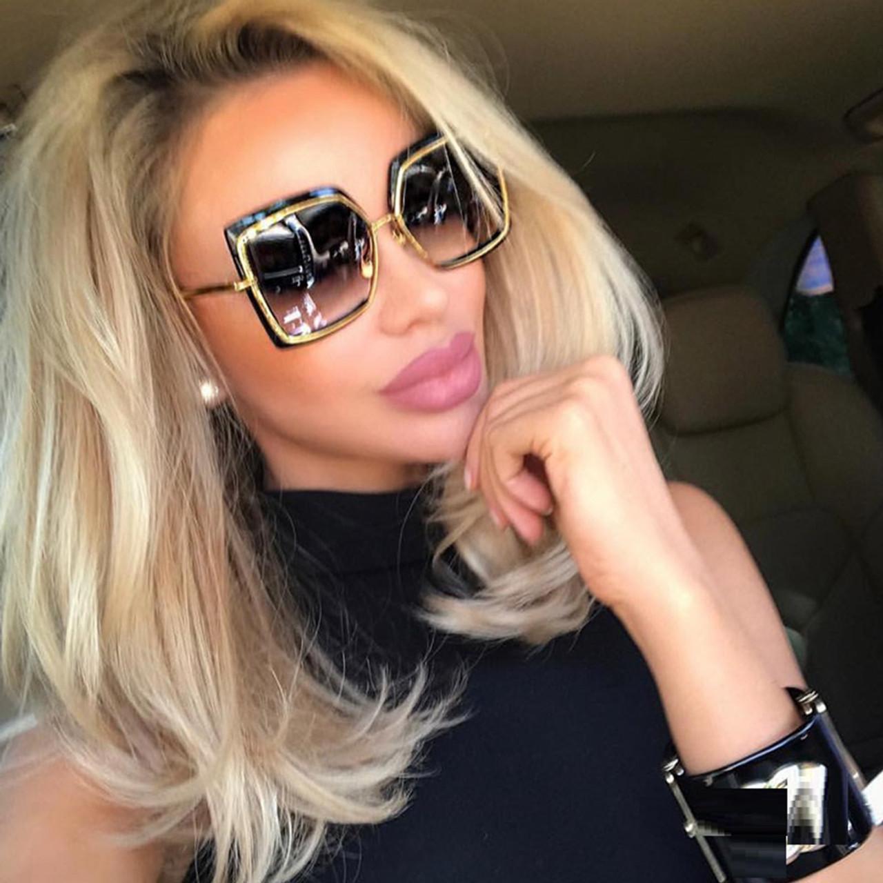 be57c05e8272 Fashion Oversized Sunglasses Women Metal Square Sunglass 2018 Brand Female  Shades Mirror Big Size Frame Sun ...