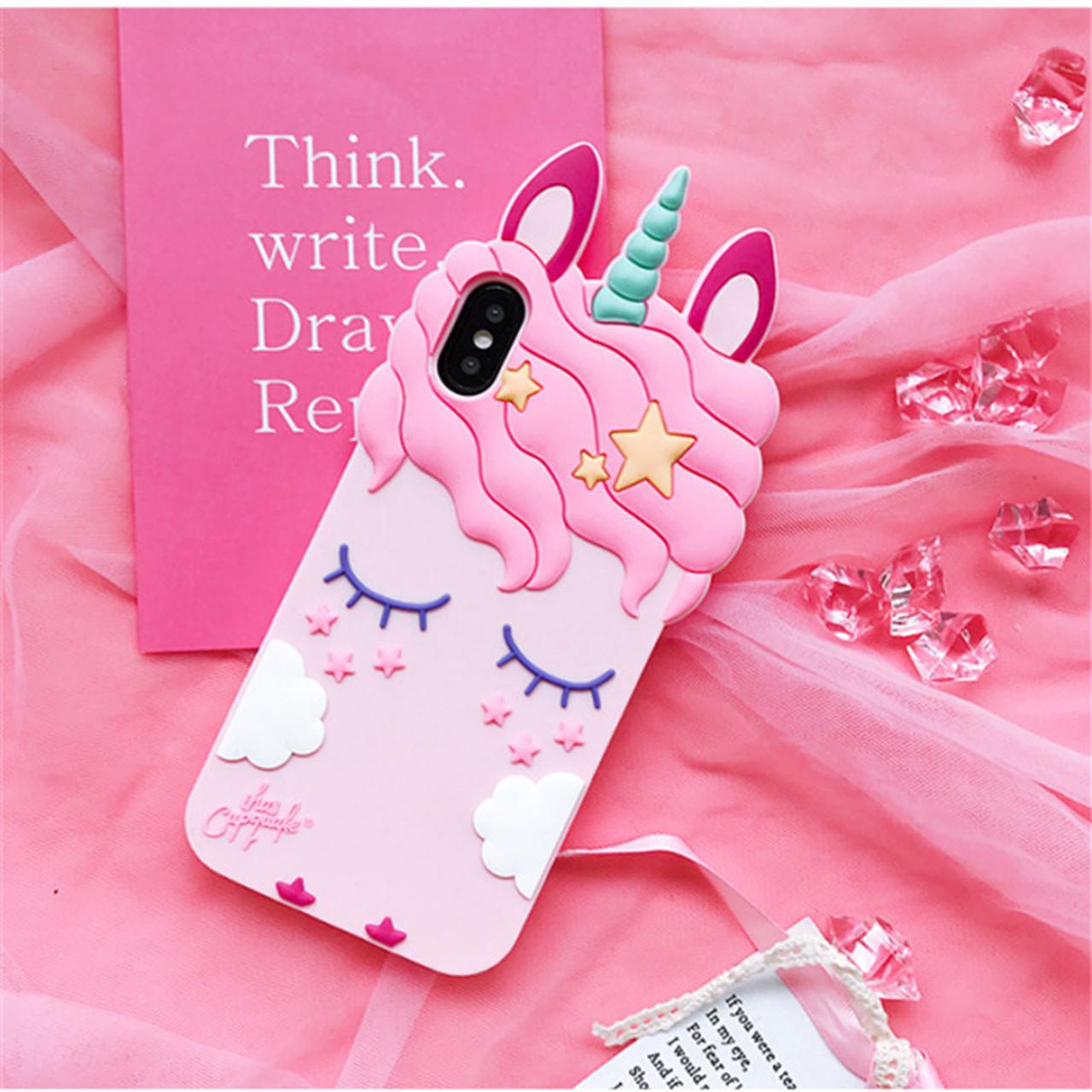 new arrival 551aa c1ebb 3D Fashion Cartoon Pink Unicorn Soft Silicone Case For Samsung Galaxy S6 S7  Edge S8 PIus J3 J5 J7 2016 2017 Pro Grand Prime