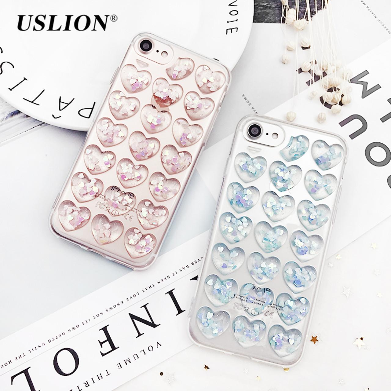 5b90fadf96 USLION Glitter 3D Love Heart Phone Case For iPhone 7 Plus Transparent Cases  Soft TPU Clear ...