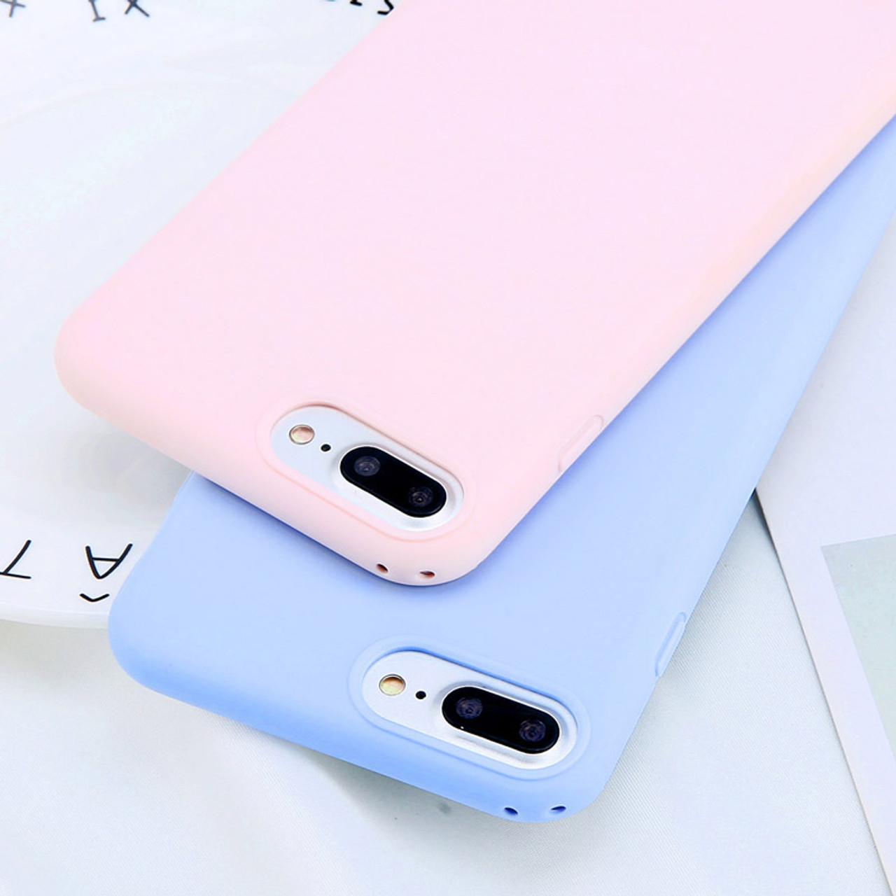 sale retailer 9915f e6f63 USLION Simple Candy Color Plain Phone Case For iPhone 6 6S Plus Soft TPU  Silicon Full Back Cover For iPhone 8 7 Plus Cases Capa