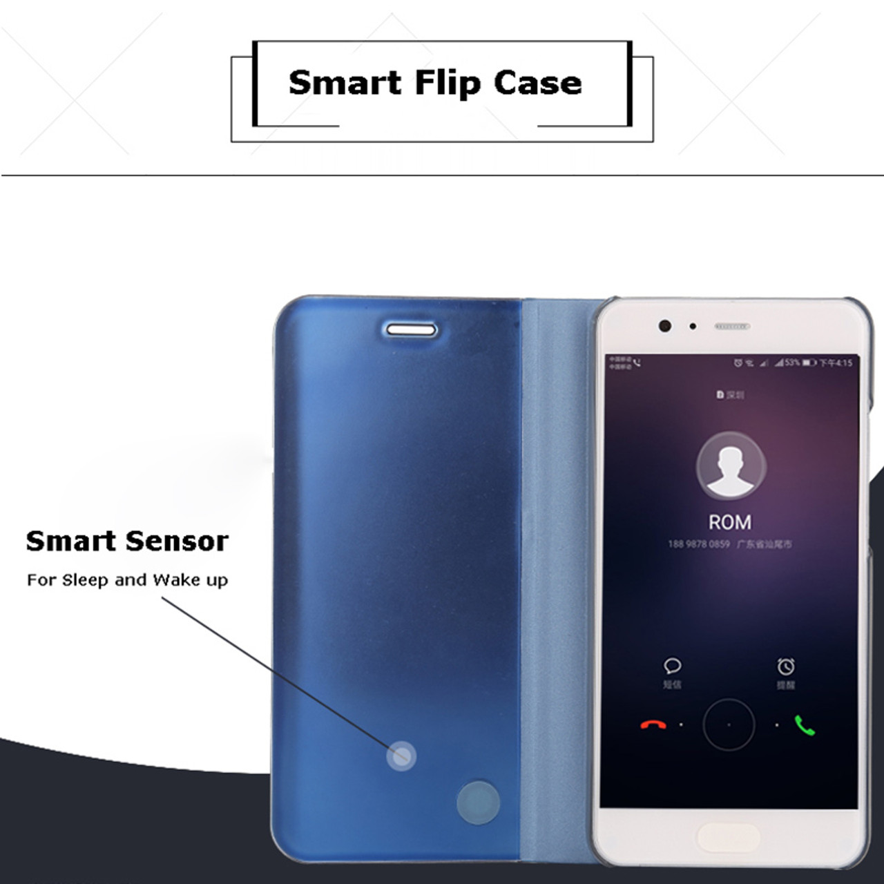 purchase cheap 315d2 72f73 Smart Flip Case For Huawei P10 Plus P10Plus Mirror Cover Shell with Stand  Holder Smart View Phone Case For Huawei P10 P9 Plus