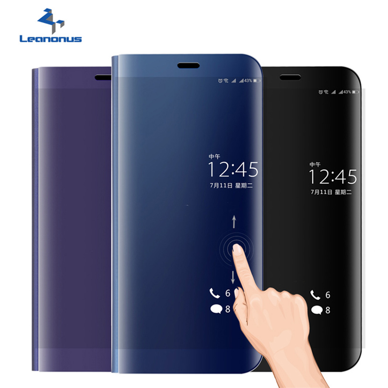 purchase cheap ee42b f4846 Smart Flip Case For Huawei P10 Plus P10Plus Mirror Cover Shell with Stand  Holder Smart View Phone Case For Huawei P10 P9 Plus