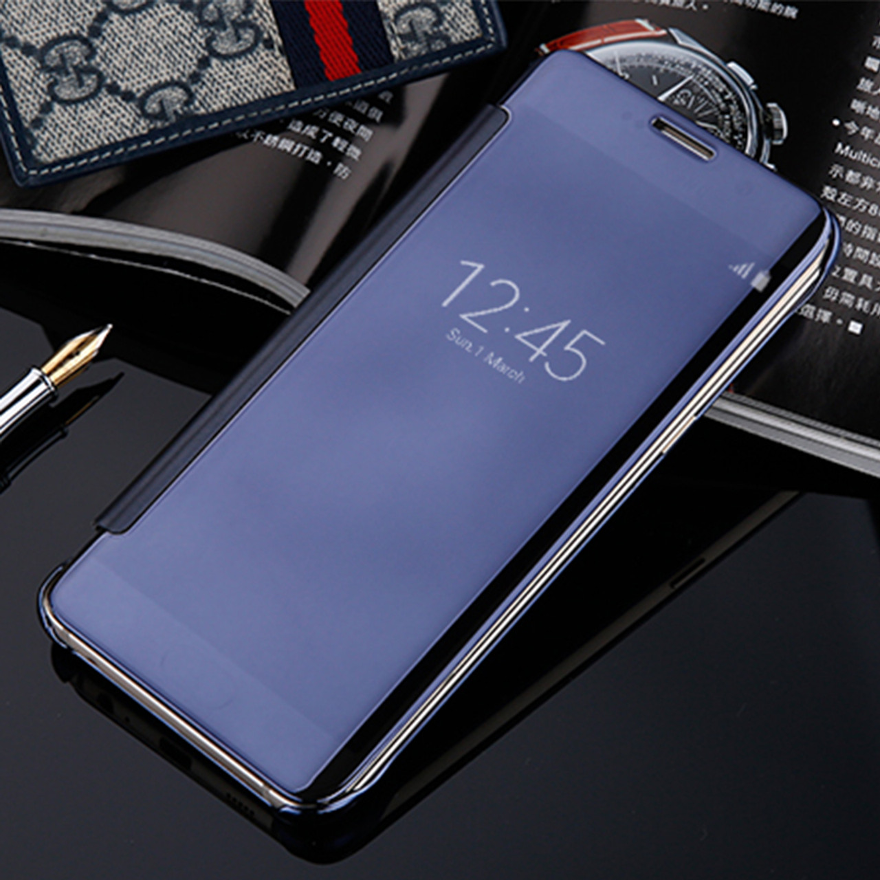 premium selection d8815 0cc19 Flip Case For Xiaomi Redmi 4 pro prime Mirror Smart Clear View Phone Cover  For Xiaomi mi 5 mi 5S Redmi Note 3 Leather Flip Case