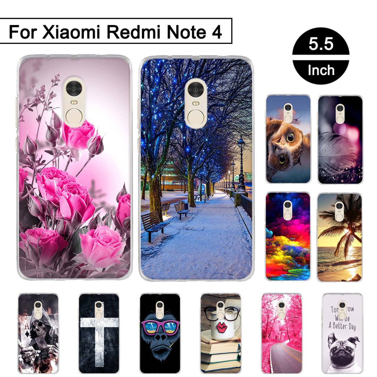 ecab617fb8 TPU Print Phone Case for Xiaomi Redmi Note 4 Soft Silicone Back Cover for  Xiaomi Redmi Note 4 Painted Pattern Shells Coque Capa