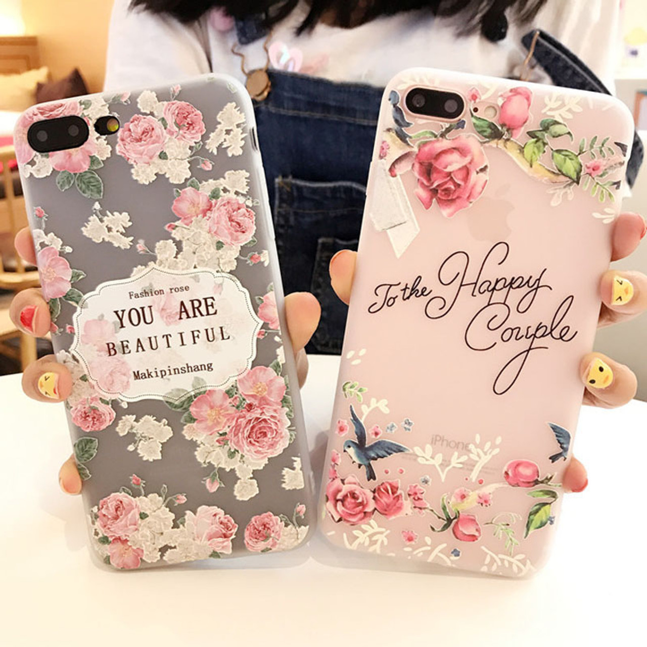 outlet store bca93 84aec USLION Flower Silicon Phone Case For iPhone 7 8 Plus Rose Floral Leaves  Cases For iPhone X 8 7 6 6S Plus 5 5S SE Soft TPU Cover