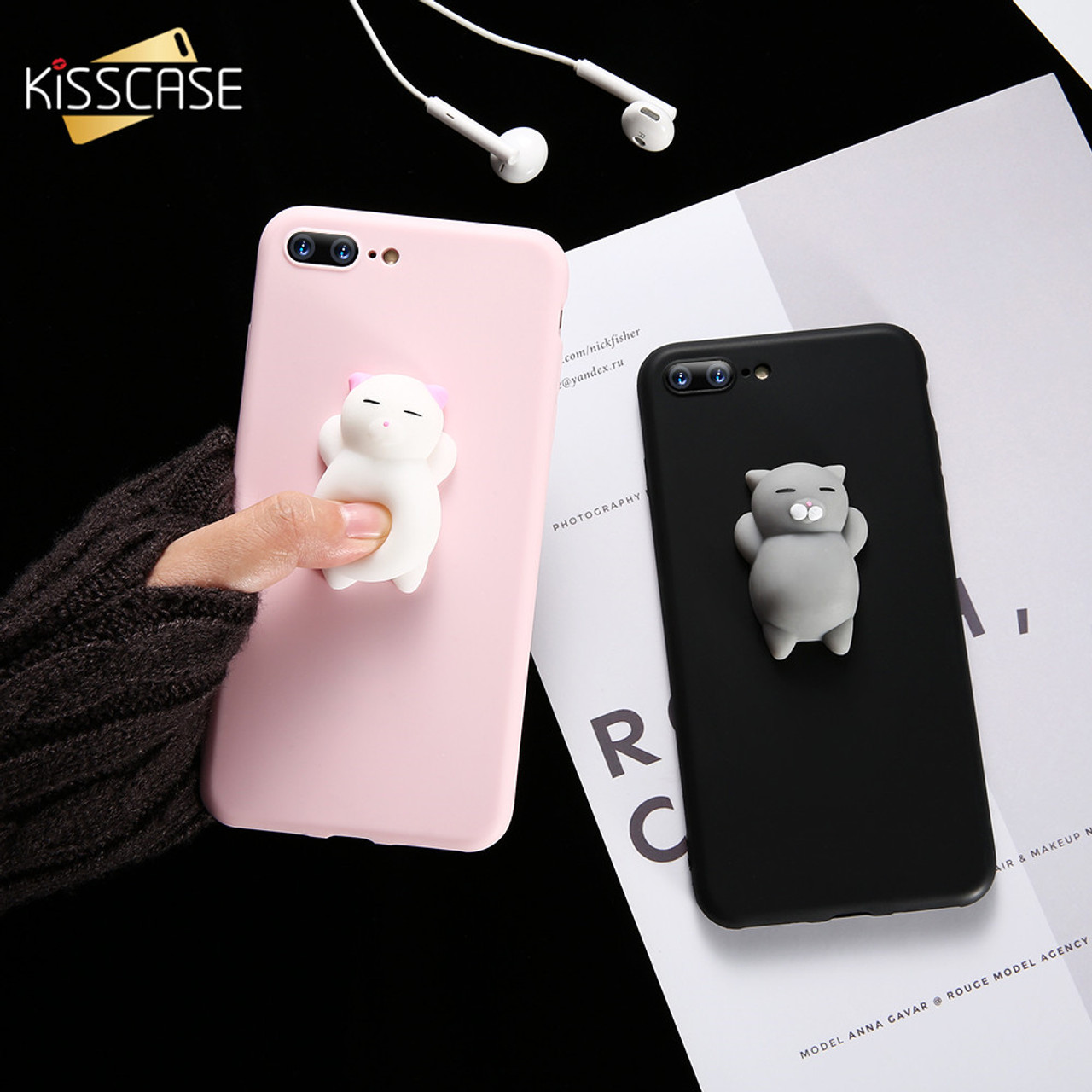 666b35f34b ... KISSCASE Cat Case For iPhone 7 6 6S Plus 5 5S SE Cases Lovely Cartoon  Soft ...