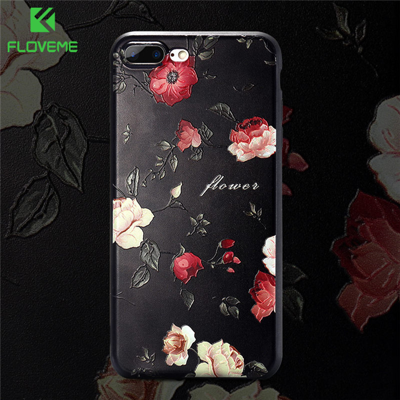 separation shoes cb8b3 7e565 FLOVEME 3D Flower Soft Phone Case For iPhone 6 6s Relief Rose Silicon Cases  For iPhone 7 5s 5 8 8 Plus Cute Floral Cover Capinha