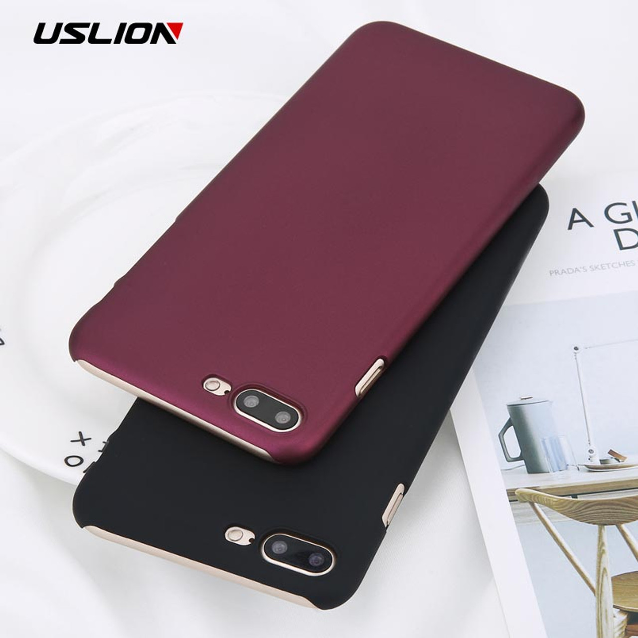 Uslion Phone Case For Iphone 6 6s Plus Simple Wine Red Color Matte Cases Frosted Hard Pc Cover For Iphone X 8 7 6s Plus 5 5s Se
