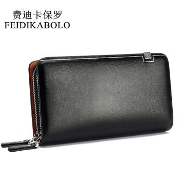 FEIDIKABOLO Men Wallets Leather Male Purse Men's Double Zipper Long Wallet Monederos Clutch Man Handy Bags Carteiras Billeteras