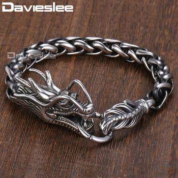 Davieslee Dragon Head Men's Bracelet Male 316L Stainless Steel Bracelet Wheat Link Chain Punk Jewelry 9mm 21.5cm DLHB450