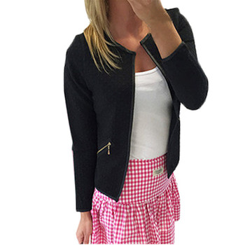 New Fashion Women Blazer Winter Jacket Short Tops 2017 Autumn Winter Zipper Long Sleeve Crew Neck Zipped Suit