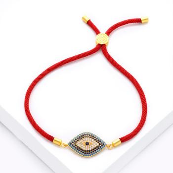 New Simple Designer Turkish Gold Evil Eye Bracelet Pave CZ Blue Eye Gold Bracelets for Women Dubai Gold Jewelry brtk53
