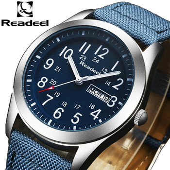 Readeel Luxury Brand Military Watches Men Quartz Analog Canvas Clock Man Sports Watches Army Military Watch Relogios Masculino
