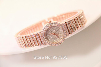 2017 New Women Full Rhinestone Watches Rose Gold Dress Watches Full Diamond Crystal Women's Luxury Watches Female Quartz Watches