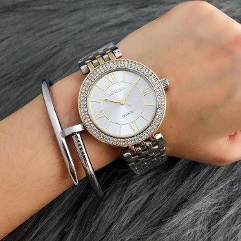 2018 Gold Watch Women Luxury Brand Contena Ladies Quartz-Watch Gifts For Girl Full Stainless Steel Rhinestone Wristwatches
