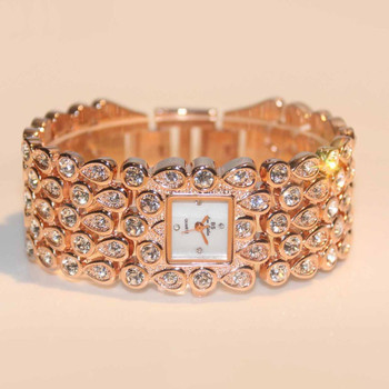 BS brand Women Full Rhinestone Watches Lady Shining Dress Watch Square Rose Gold Bracelet Wristwatch Ladies diamond Watch