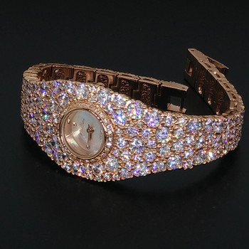 Luxury Melissa Lady Women's Watch Elegant Full Rhinestone CZ Fashion Hours Dress Bangle Crystal Clock Girl Birthday Gift Box