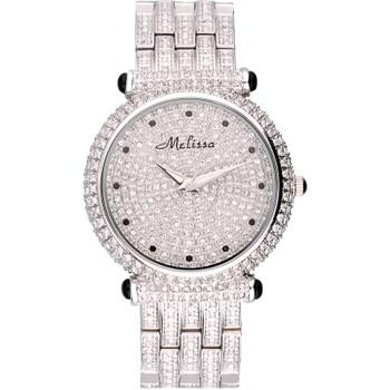 Luxury Melissa Lady Women's Watch Elegant Full Rhinestone CZ Fashion Large Hours Bracelet Crystal Clock Girl Birthday Gift Box