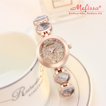 Luxury Melissa Lady Women's Watch Elegant Full Rhinestone Cute Fashion Hours Bracelet Crystal Clock Girl Birthday Gift Box
