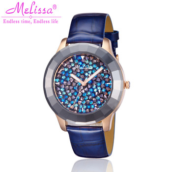 Luxury Melissa Lady Women's Watch Ceramic Full Rhinestone Crystal Fashion Hour Dress Bracelet Clock Stars Girl Birthday Gift Box