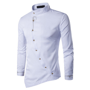 Male Shirt Long Sleeve Mens Clothes Oblique Button Dress Shirts Mandarin Collar Men Tuxedo Shirts