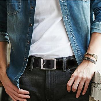 SAN VITALE 100% Cowhide Genuine Leather Belts for Men Brand Strap Male Pin Buckle Fancy Vintage Cowboy Jeans Cintos