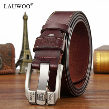 LAUWOO fashion mens casual genuine leather belt High quality cowhide retro buckle belt new design Brown Belts