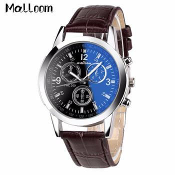 Malloom Mens Roman Numerals Blue Ray Glass Watches Men Luxury Leather Analog Quartz Business Wrist Watch Men's Clock Relogio #YL