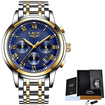LIGE Watch Men Fashion Sport Quartz Clock Mens Watches Top Brand Luxury Full Steel Waterproof Gold Wrist Watch Relogio Masculino
