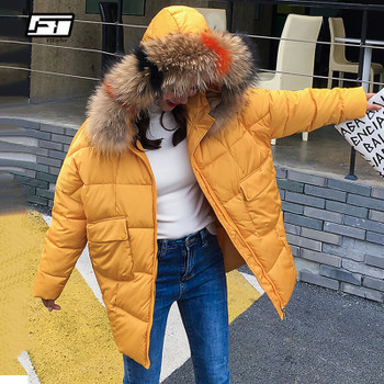 Fitaylor Women Winter Hooded Warm Cotton Jacket Coat Large Fur Collar Medium Long Pocket Zipper Thick Female Black Snow Parkas
