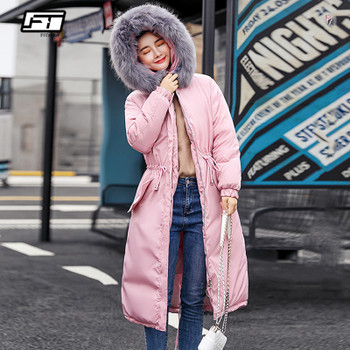 Fitaylor Winter Women Warm Hooded Long Cotton Parkas Snow Large Fur Collar Jackets Overcoat Female Thick Sash Tie Up Cotton Coat