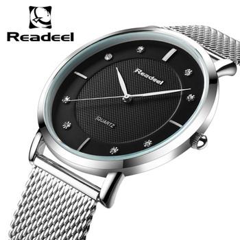Readeel New Top Luxury Watch Men Brand Mens Watches Ultra Thin Stainless Steel Mesh Quartz Men Wristwatch Fashion Casual Watches