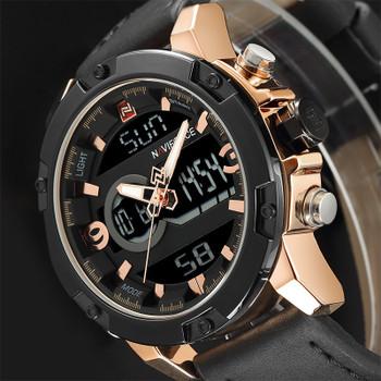 NAVIFORCE Luxury Brand Men Military Sport Watches Mens LED Analog Digital Watch Male Army Leather Quartz Clock Relogio Masculino