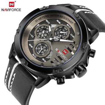 NAVIFORCE Top Brand Luxury Waterproof 24 hour Date Quartz Watch Men's Watches Man Leather Sport Wrist Watch Men Waterproof Clock