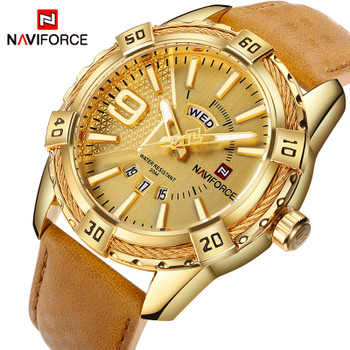 NAVIFORCE Top Luxury Brand Men Leather Gold Watch Men's Quartz Date Clock Man Sports Waterproof Wrist Watches relogio masculino
