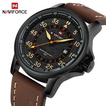NAVIFORCE Top Luxury Brand Men Sports waterproof Watches Men's Quartz Clock Man Leather Military Wrist Watches Relogio Masculino