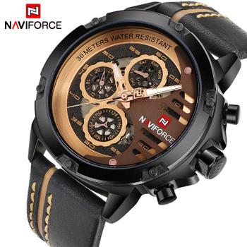 NAVIFORCE Luxury Brand Men's Quartz Sports Watches Man Leather Hollow Face 24 Hour Date Clock Men Fashion Waterproof Wrist Watch
