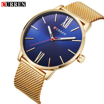 2018 CURREN Mens Watches Top Brand Luxury Gold Quartz Watch Men Fashion Waterproof Stainless Steel Sport Clock Male Wristwatch