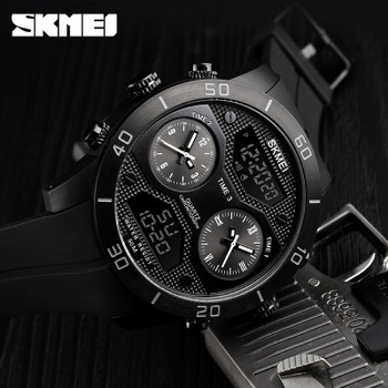 SKMEI 1355 New Men Dual Display Wristwatches 3 Time Countdown 50M Waterproof Clock Relogio Masculino Outdoor Sports Watches
