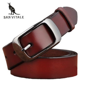 SAN VITALE New Designer Fashion Women's Belts Genuine Leather Brand Straps Female Waistband Pin Buckles Fancy Vintage for Jeans