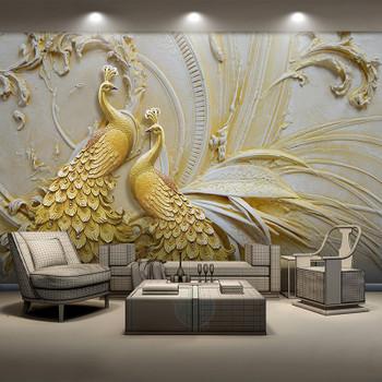 Custom Mural Wallpaper For Walls 3D Stereoscopic Embossed Golden Peacock Background Wall Painting Living Room Bedroom Home Decor