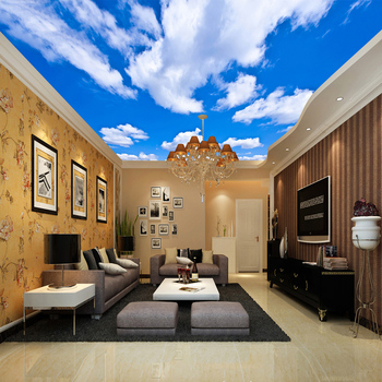Custom Ceiling Mural Wallpaper 3D Blue Sky And White Clouds Living Room Bedroom Ceiling Background Photo Wallpaper Wallcoverings