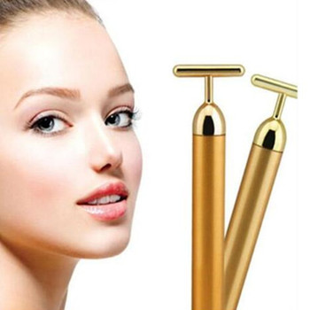 Golden Anti-aging Anti-wrinkle Face Massager Roller Energy Pen Bar Facial Roll  Tharapy Massage Derma Skin Care Treatment