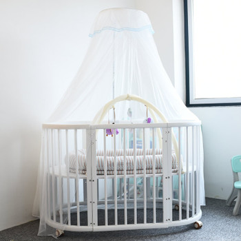 Baby Bed Crib Netting Mosquito Net Playpens Bassinets Round Dome Infant Cribs Bed Canopy Durable Mosquito Net with Holder