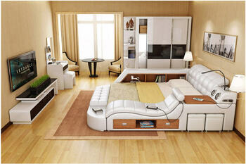 Genuine leather bed frame with massage and safe Modern Soft Beds Home Bedroom Furniture