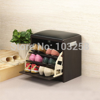 Small Size Shoe Racks hallway shoes-changing bench Japanese Porch Shoe Ark Tipping Bucket Shoebox Export Furniture 43*30*43CM