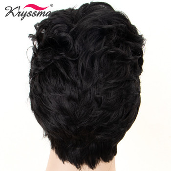 Synthetic Mens Wig Black #1B Color Short Handsome Synthetic Wigs for Men Middle East Gentleman Dew Forehead Heat Resistant Fibe