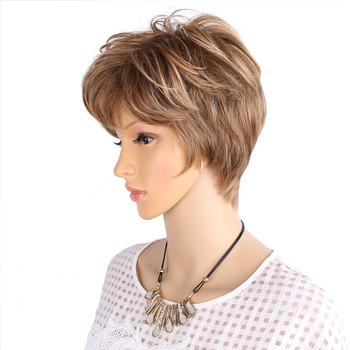 Amir Fluffy Short Wigs for white women Blonde wig Synthetic Curly Short Hair Wig Ombre And Piano Color