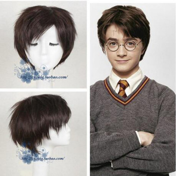 Movie Harry Potter Dark Brown Short Wig Cosplay wig Halloween Role Play Synthetic Hair + Wig cap