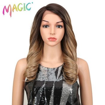 magic Hair 150 density Ombre Blonde Wigs 20 Inch Heat Resistant Loose Wavy Fiber Hair Synthetic Lace Front Wigs For Black Women